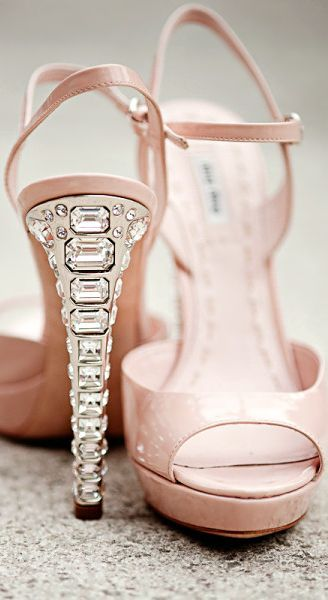 Miu Pink Sandals With Crystal Heels Wedding Shoes Pinterest And