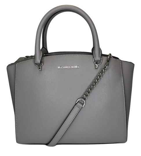 6324e7a9eda6 Save big on the Michael Kors Ellis Ash Grey Leather Satchel! This satchel  is a top 10 member favorite on Tradesy.