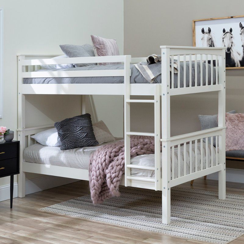 Mission White Twin Over Twin Bunk Bed Twin Bunk Beds Bunk Beds