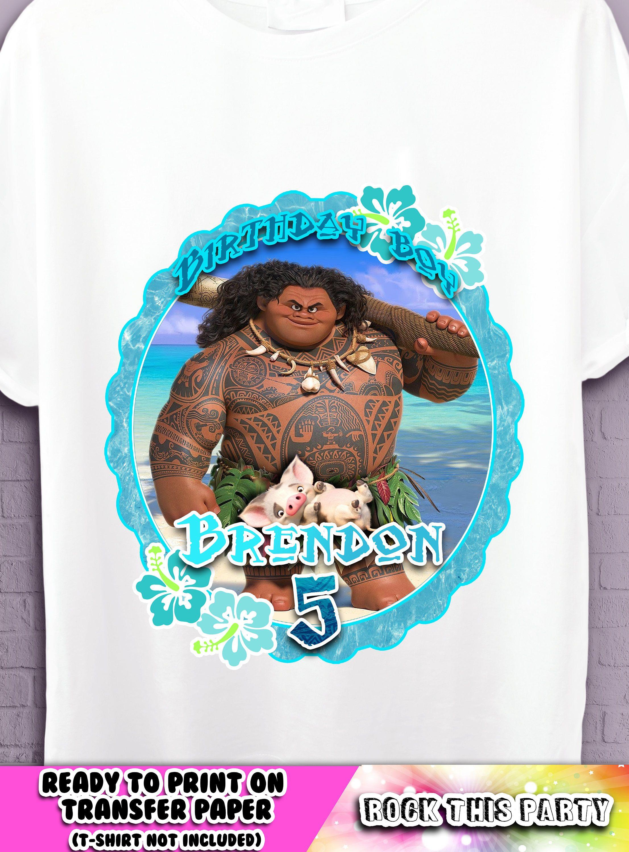Design your own t-shirt iron on transfer - Maui Disney Birthday Shirt Moana Personalized Iron On T Shirt Party Supplies Disney Oceania Birthday Boy Tshirt Custom Iron On Transfer