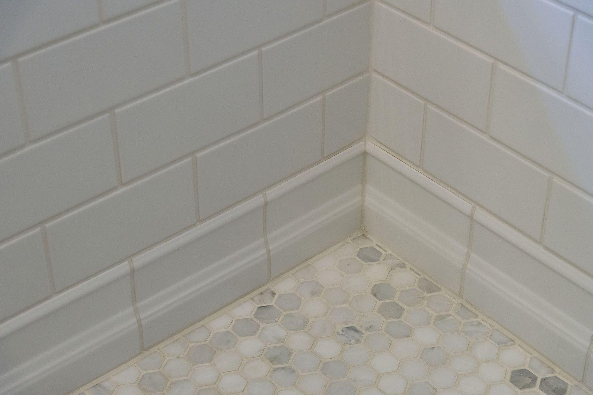 Guest Bathroom Hexagon Mosaic Floor White 3x6 Subway Tile And Tile Baseboard Tile Baseboard Bathroom Gallery Bathroom