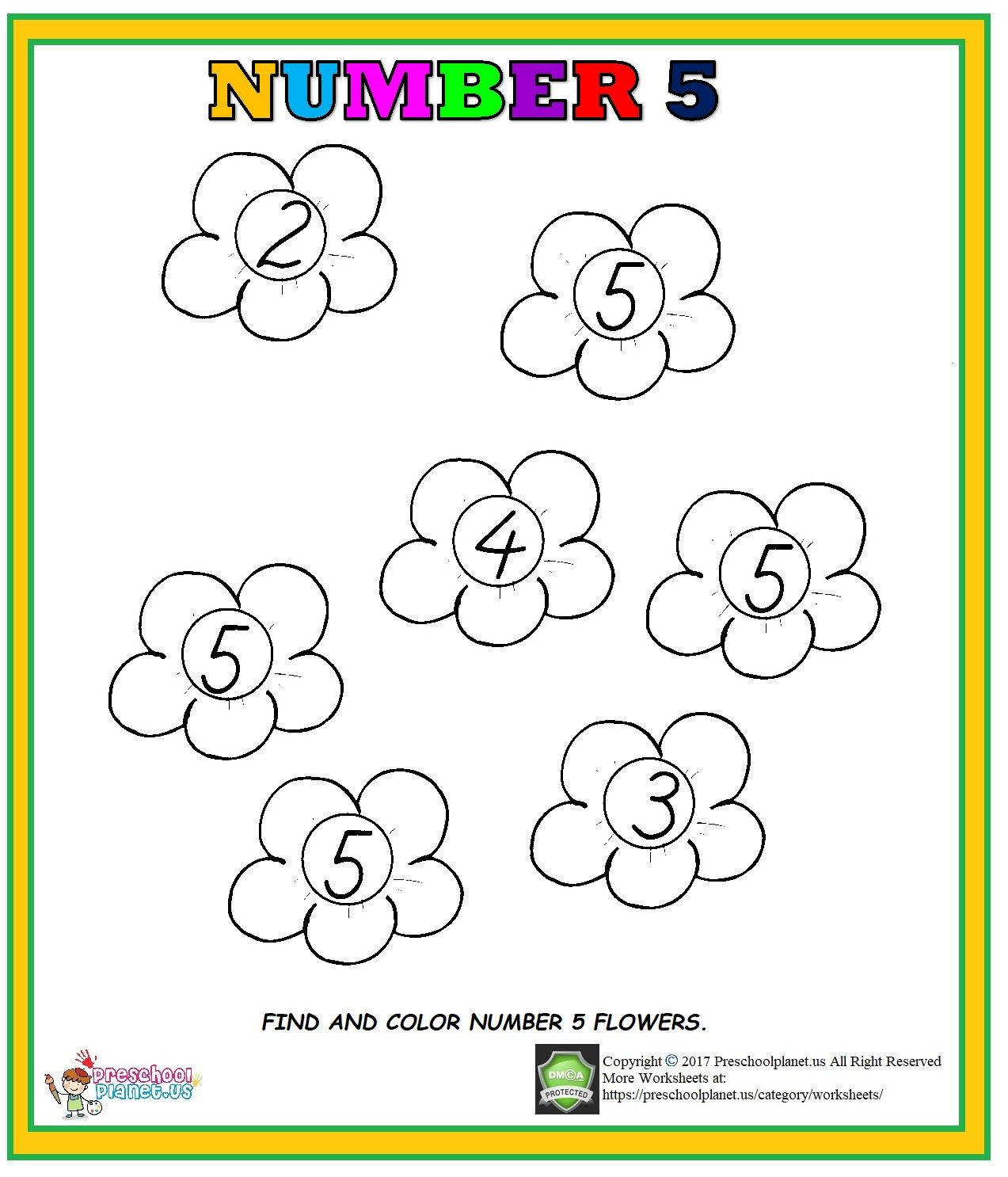 Number 5 Worksheet For Preschool