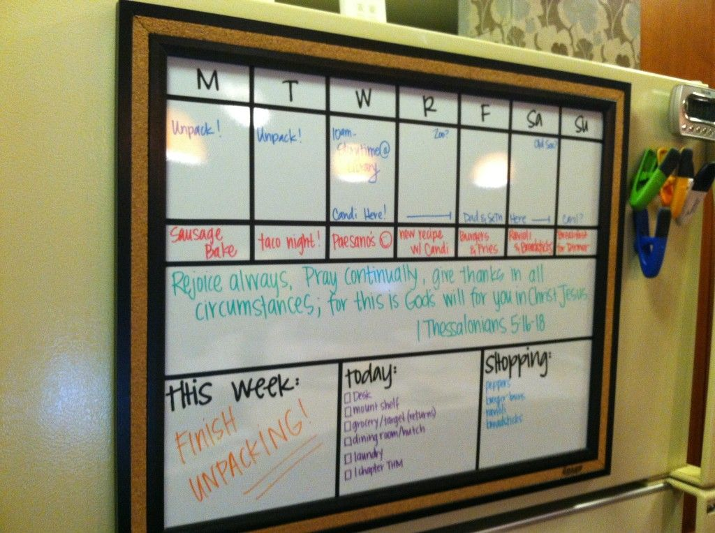 Dry Erase Wall Weekly Planner For Kitchen