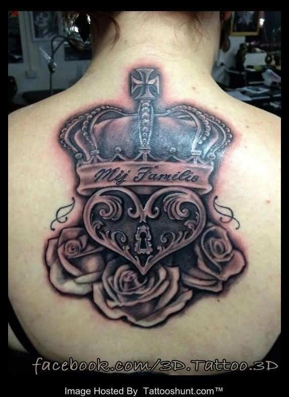 b33699f63 3D Crown Heart And Rose Tattoos On Back | Tattoo | Locket tattoos ...