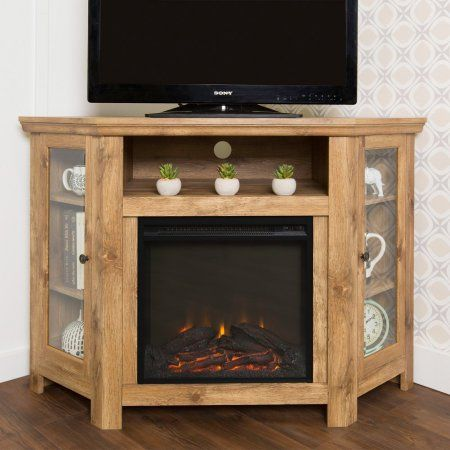 Walker Edison 48 In Corner Fireplace Media Tv Stand Brown