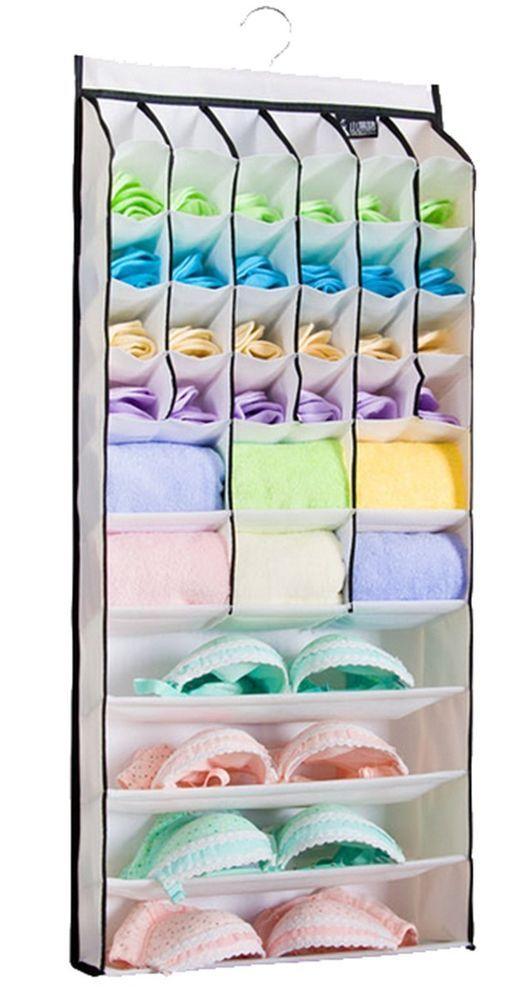 Hanging Underwear Socks Bra Accessories Compartment 34 Shelves Closet  Organizer