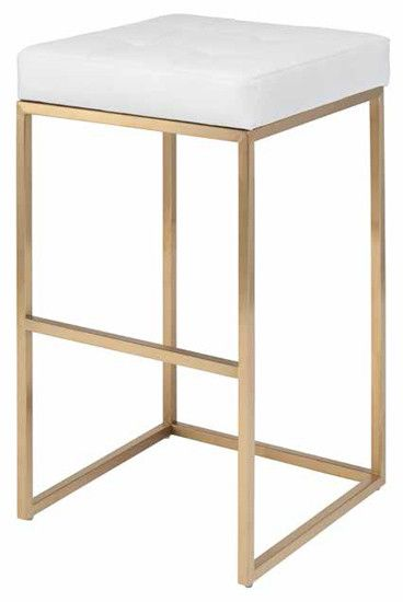 Rn 1065 Backless White Leather Bar Stool With Brushed Gold Base