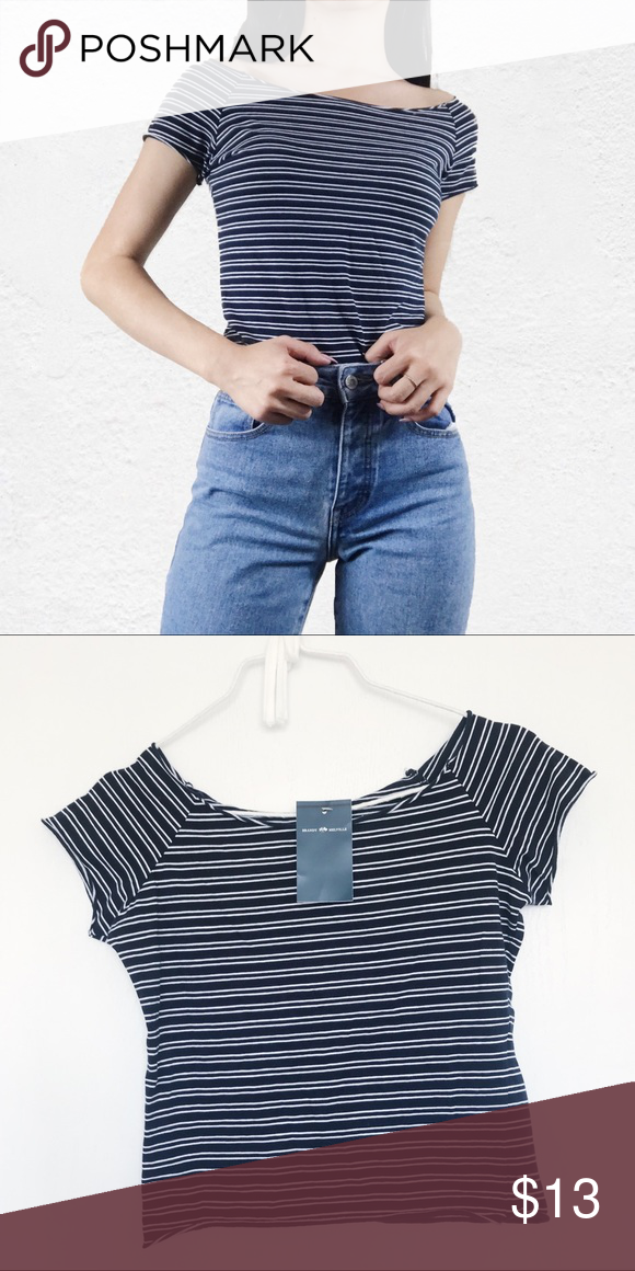 e11c19ef22 Brandy Melville navy striped rin off shoulder top NWT Brandy Melville Tops  Tees - Short Sleeve