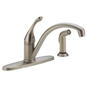 Delta Faucet 18 Gpm 8 Insinglehandle 4Hole Deck Mount Kitchen Classy 4 Hole Kitchen Faucet Decorating Inspiration