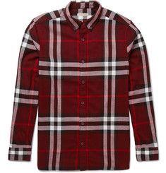 BurberryBrit Button-Down Collar Checked Cotton-Flannel Shirt