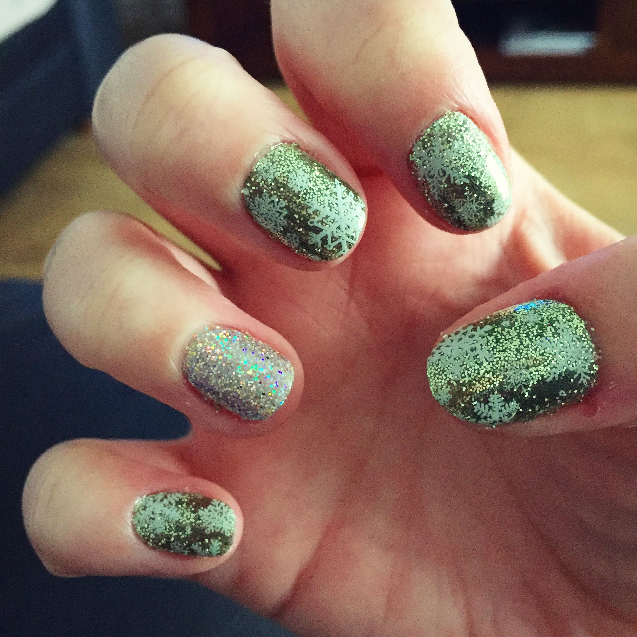 Christmas nails forest green with snow flakes glitter sparkles