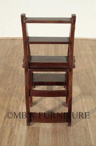 Benjamin Solid Mahogany Convertible Ladder Chair Library Step Stool Kitchen Dining