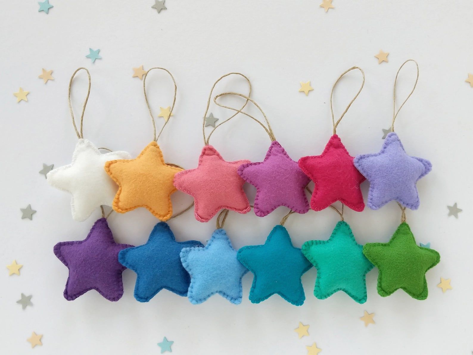 Felt Star Ornaments Christmas Tree Ornaments Set Of 12 Holiday Decoration Rainbow Star Ornament Felt Ornaments Patterns Rainbow Christmas Tree
