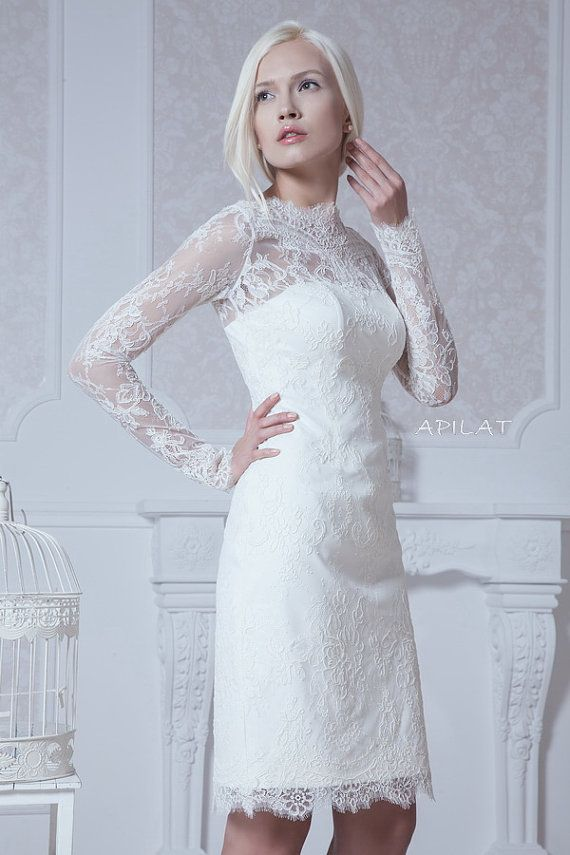 Fitted Style Short Lace Wedding Dress with Sleeves M38, Classic ...