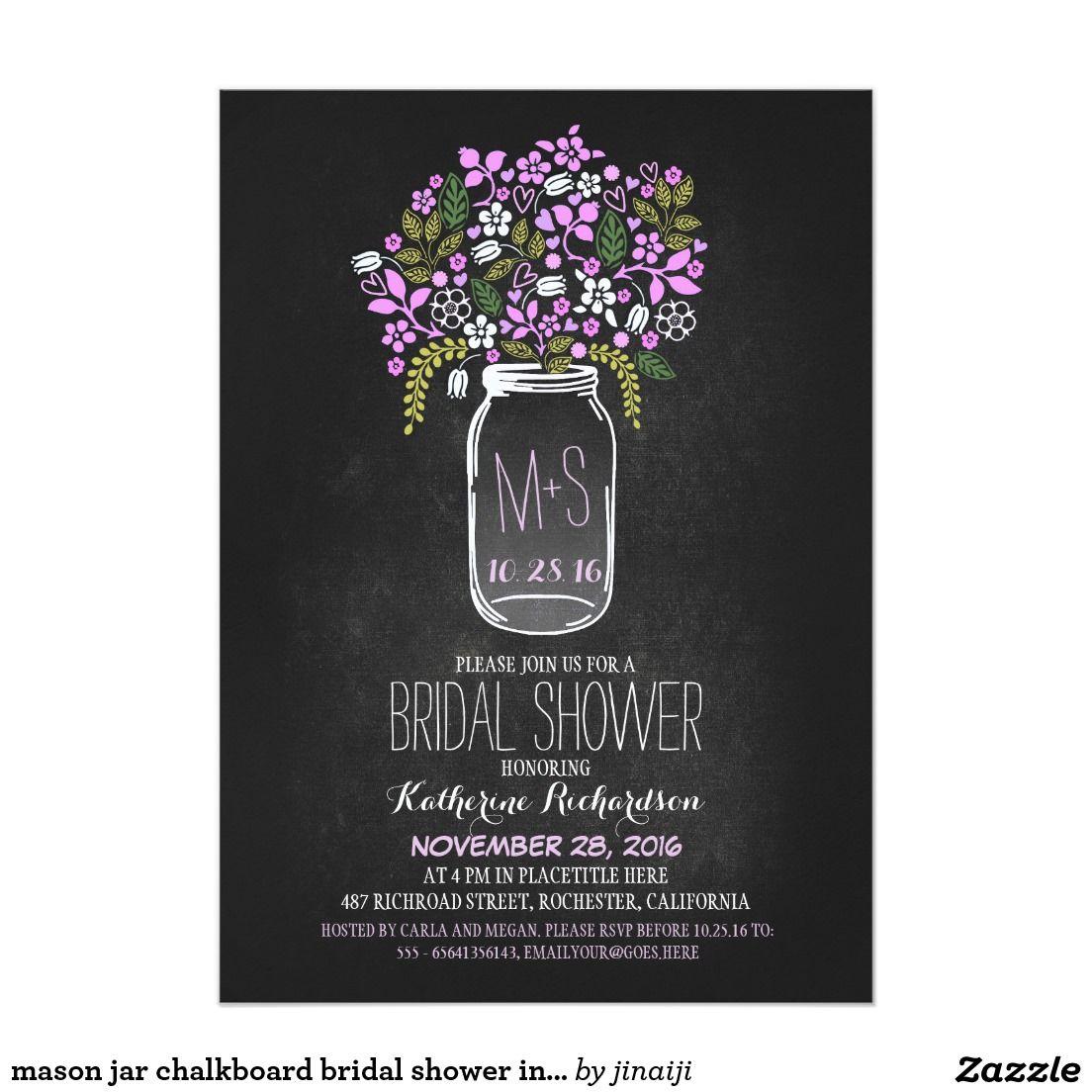 mason jar chalkboard bridal shower invitation. Elegant Chalkboard ...