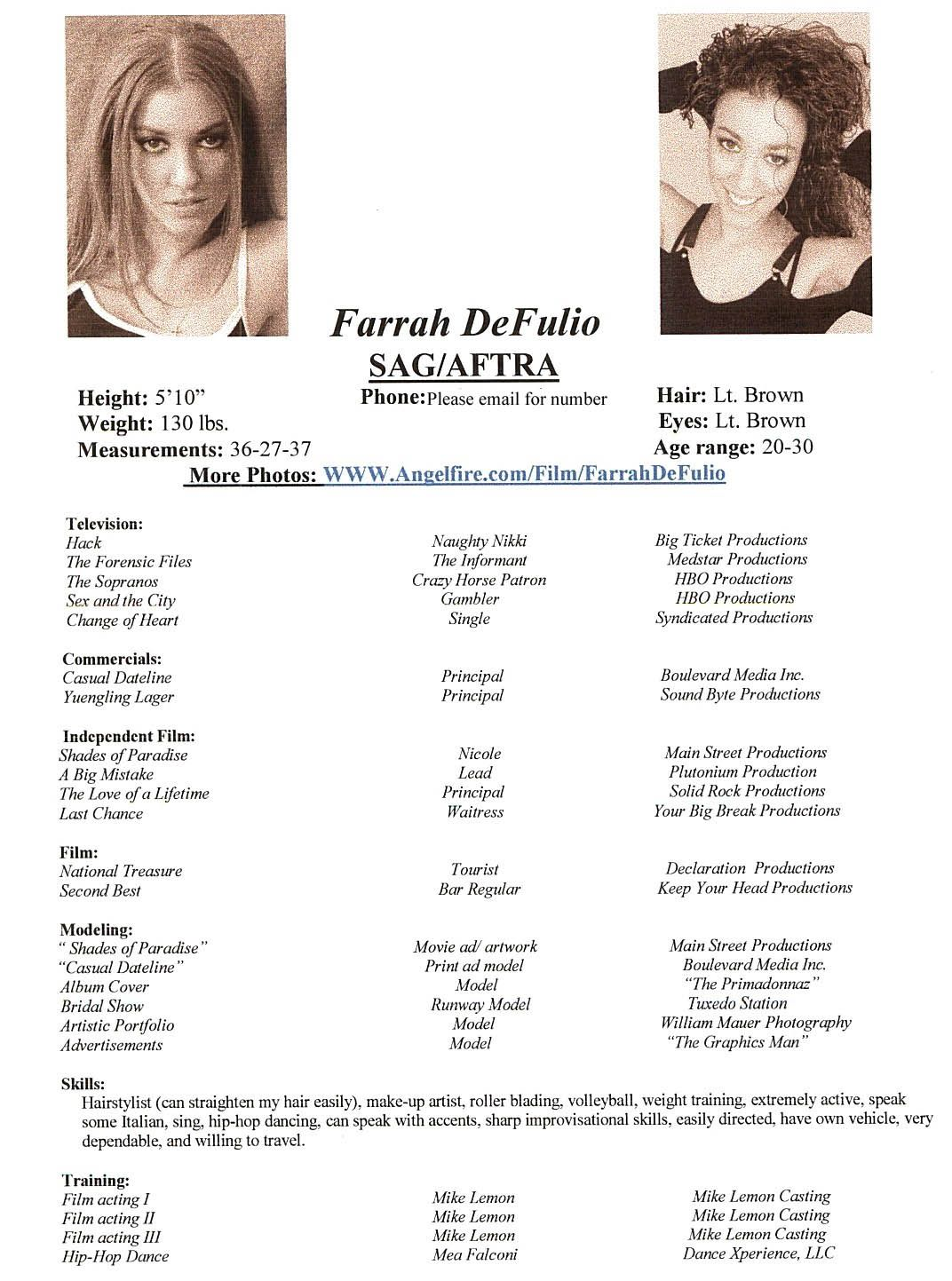 Acting Modeling Resume Beginner Farrah And Grlfriendx Aol Com Mrs