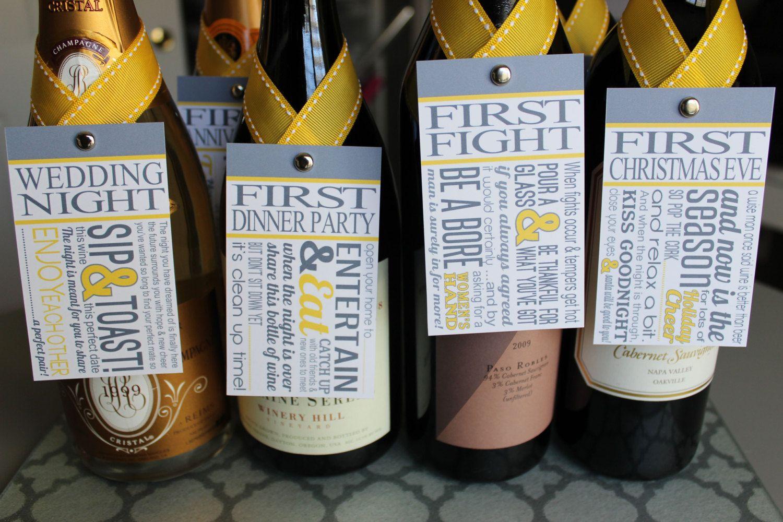 Wine Basket Wedding Gift: Great Bridal Shower Gift! 6 Custom Wine Tags Celebrating 6