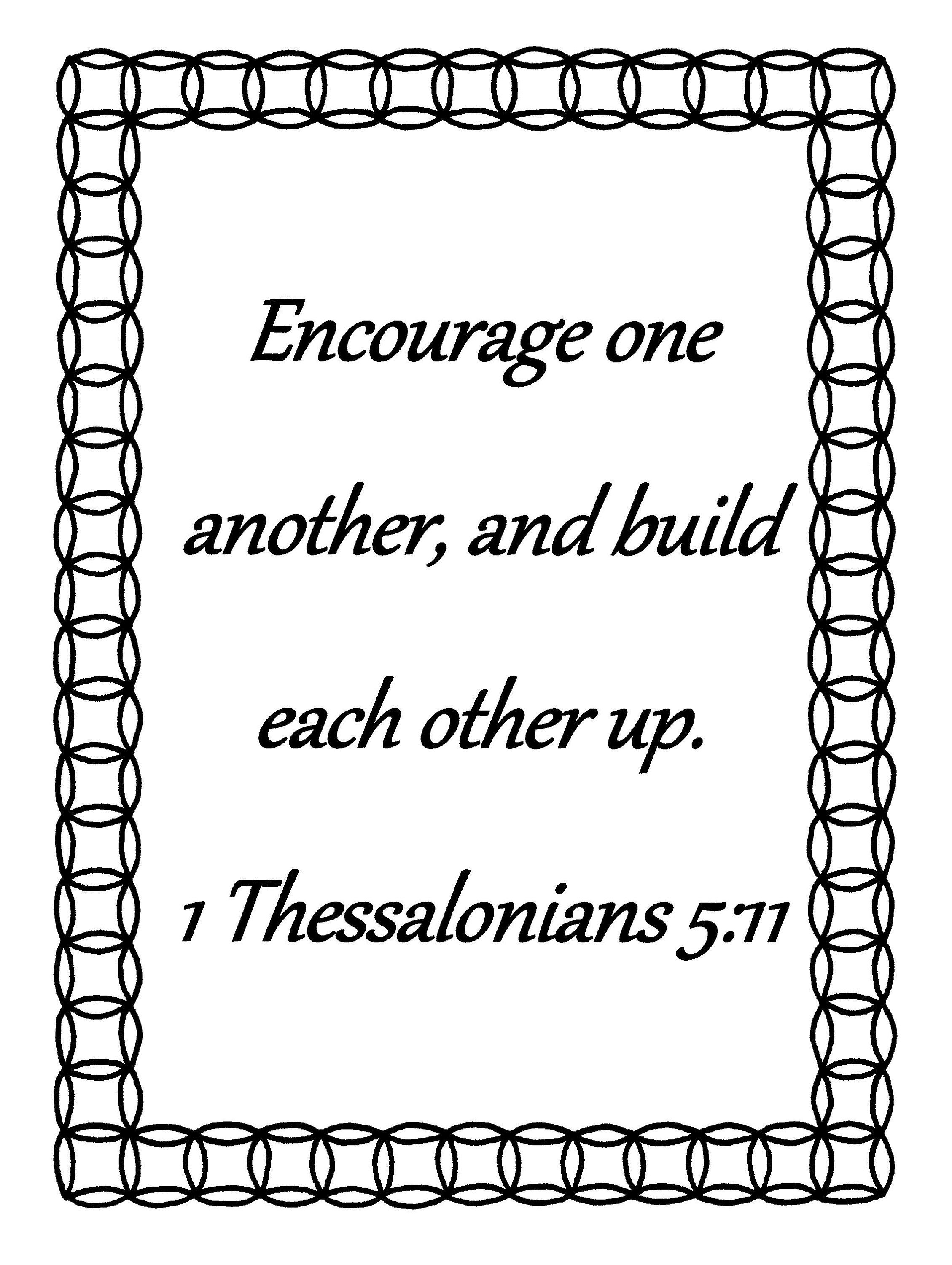 Encourage One Another 1 Thessalonians 5 11 Bible Verse Coloring