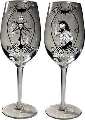 set of jack skellington sally wine glasses