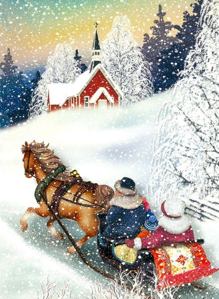 Открытки рисунки с новым годом и рождеством