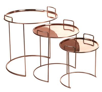 table basse tray round / set de 3 tables gigognes cuivre - pols