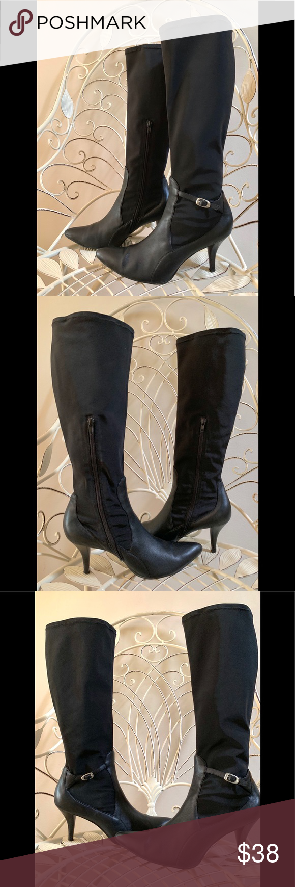 NINE WEST Black Leather Stiletto Hug Me Boots Boots