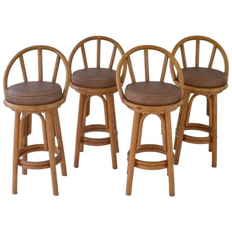 Set Of Four Bent Bamboo Bar Stools Bamboo Bar Bar Stools Stool