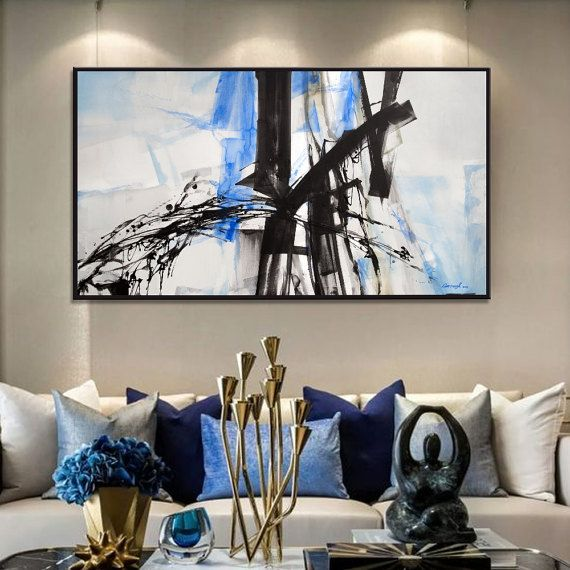 Abstract Painting Black White Blue Moderne Art And