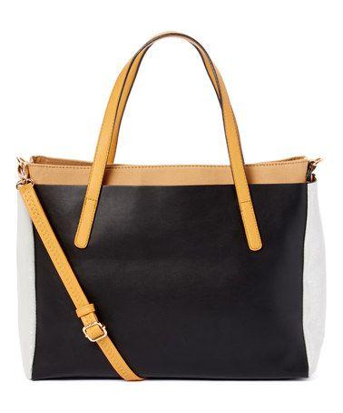 Black Color Block Tote & Crossbody Bag $19.99