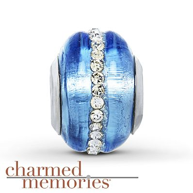Charmed Memories Light Blue Crystal Sterling Silver Charm hrlvof