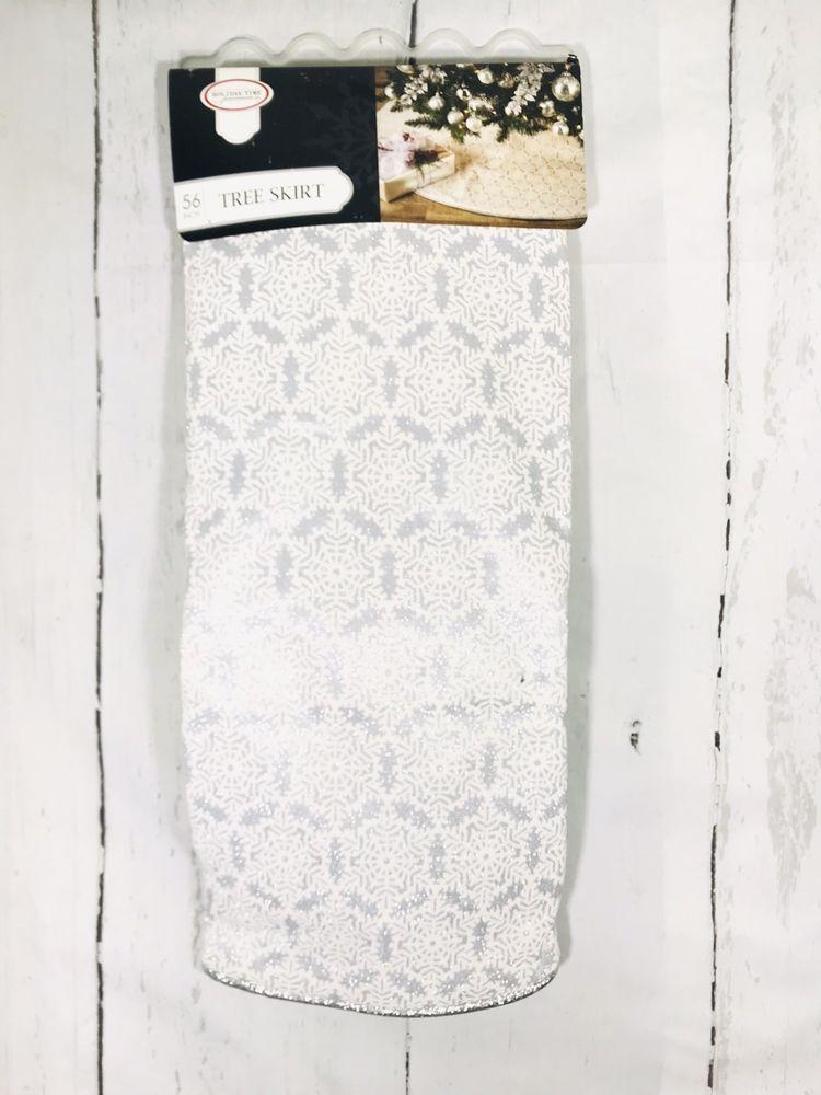 Christmas Tree Skirt Snowflake Silver Glitter White 56 \u201c in 2018