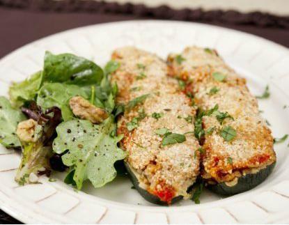 Greek-Style Stuffed Zucchini  http://www.humanesociety.org/issues/eating/recipes/entrees/greek_stuffed_zucchini.html