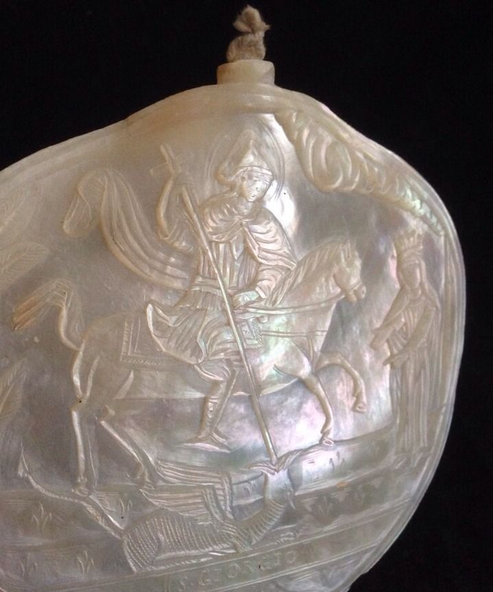Fine Antique Islamic Palestinian Jerusalem Bethlehm Carved Mother OF Pearl Shell
