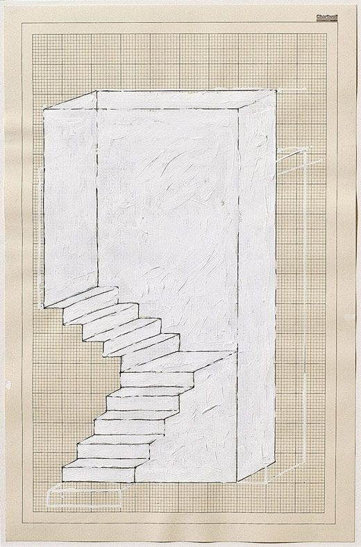 Rachel Whiteread, Dog, Leg Stair, 1995, Correction Fluid And Ink On Graph  Paper, 45.5 X 30 Cm.