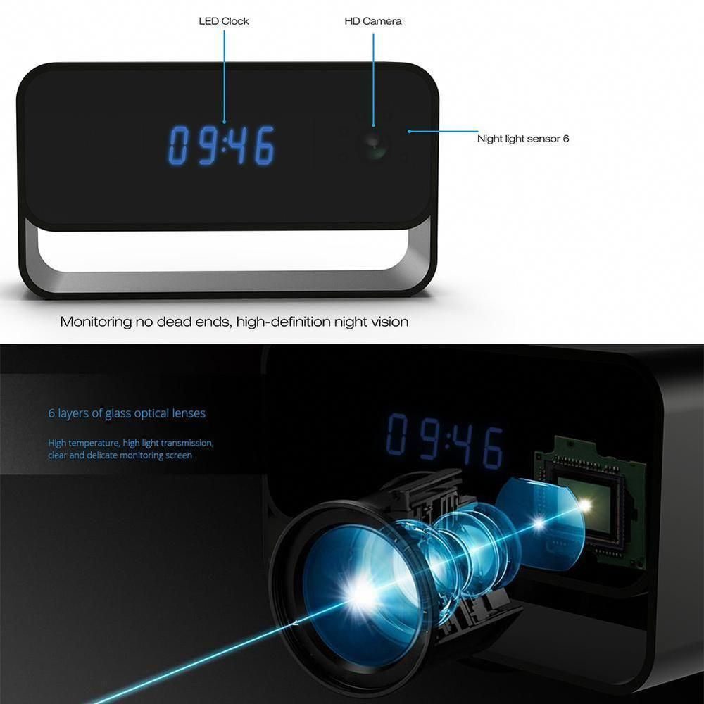 1080P Wireless WIFI Spy Hidden Camera Motion Security Alarm Clock