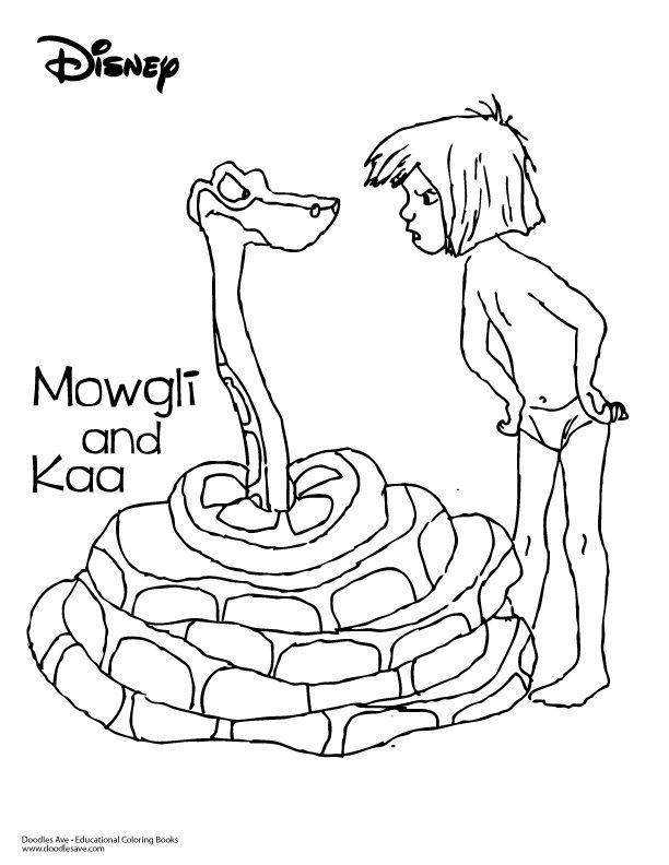Jungle Book Coloring Sheet Mowgli And Kaa Raskraski Raskraski