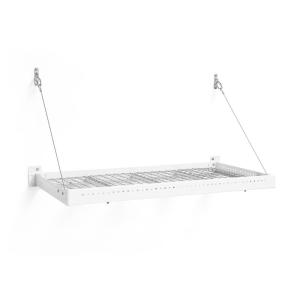 Inplace 35 4 In W X 10 2 In D X 2 In H White Square Edge Mdf Floating Wall Shelf 0191408 Steel Shelf Newage Products Floating Wall Shelves