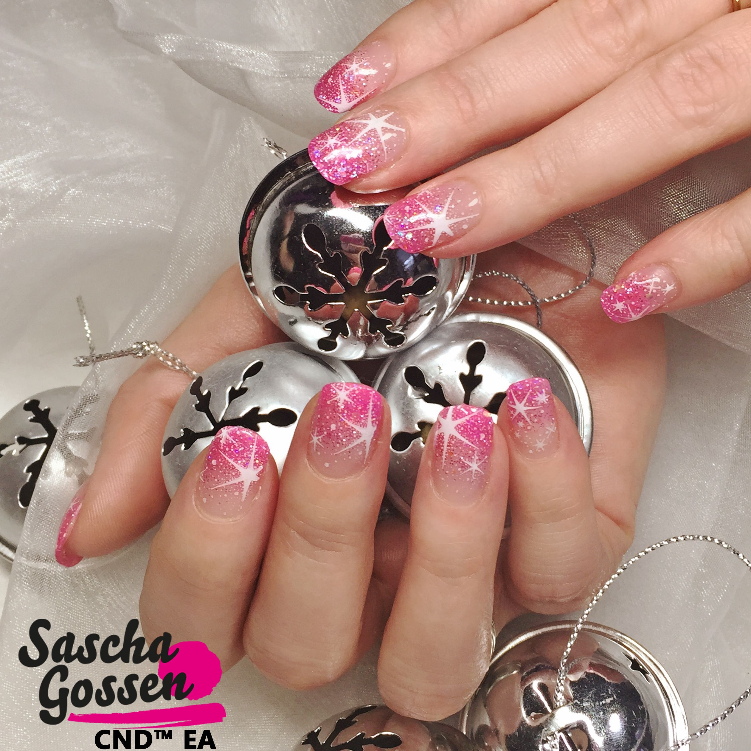 Even In Pink The Stars Will Be Shining Cnd Cndworld Stars Nailsofinstagram Nails2inspire Christmasnailart Y Pink Nails Christmas Nail Art Star Nails