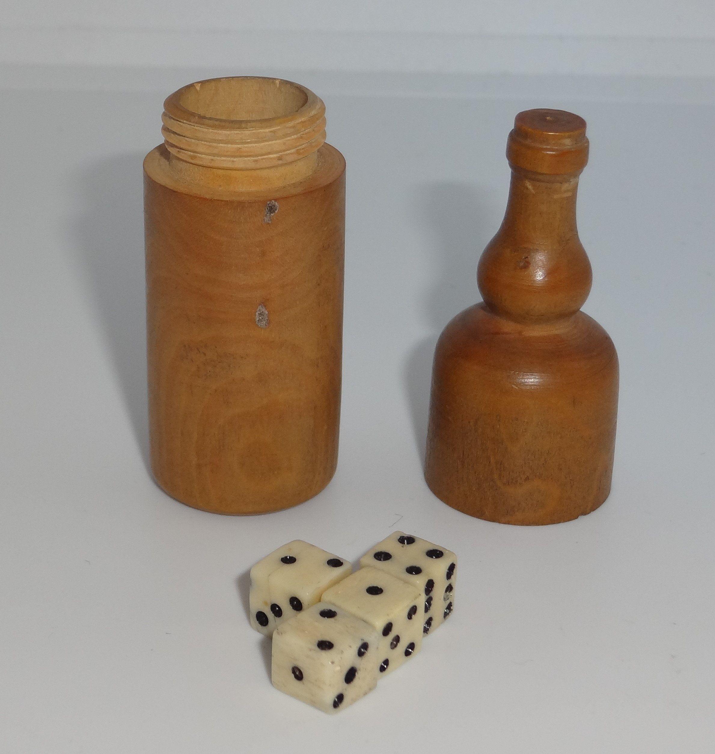 Antique Treen Bottle Shaped Dice Shaker Screw Lid With 4 Tiny Etsy Bottle Shapes Shaker Bottle