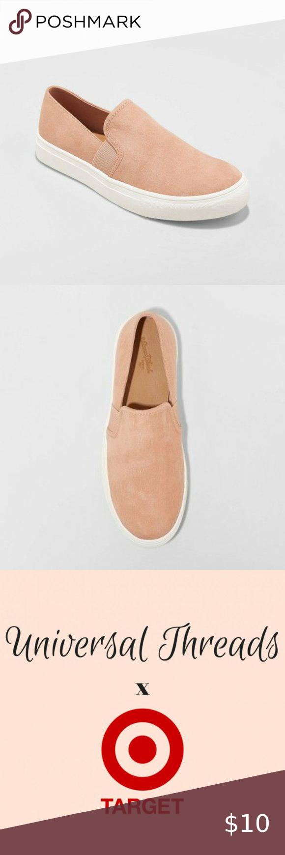 Universal Thread Women Rose Microsuede Slip On Twin Gore Sneakers Shoe Blush NEW