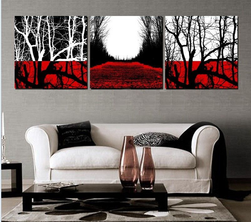 Vibrant Inspiration Red And Black Wall Art Por 3 Piece White Tree 14