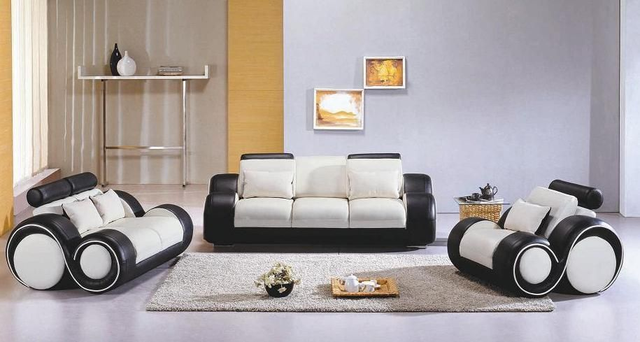 Contemporary Black And White Leather Sofa Set The Contemporary
