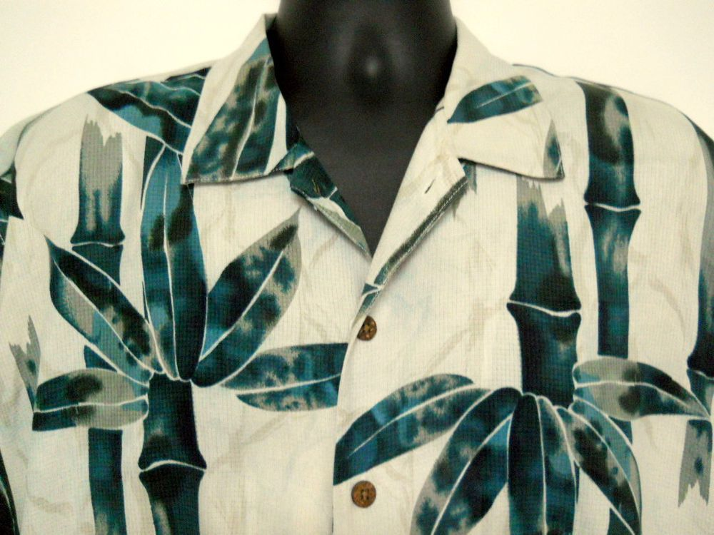 Tommy Bahama Relax Mens Large Shirt Silk Green Bamboo Stalks Leaves  #TommyBahama #Hawaiian
