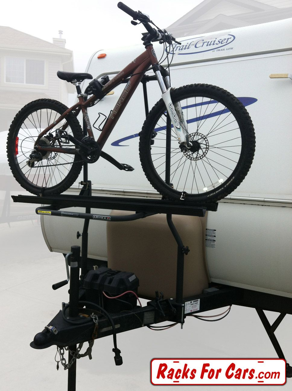 Arvika 2 bike rack with travel trailer bracket holding a