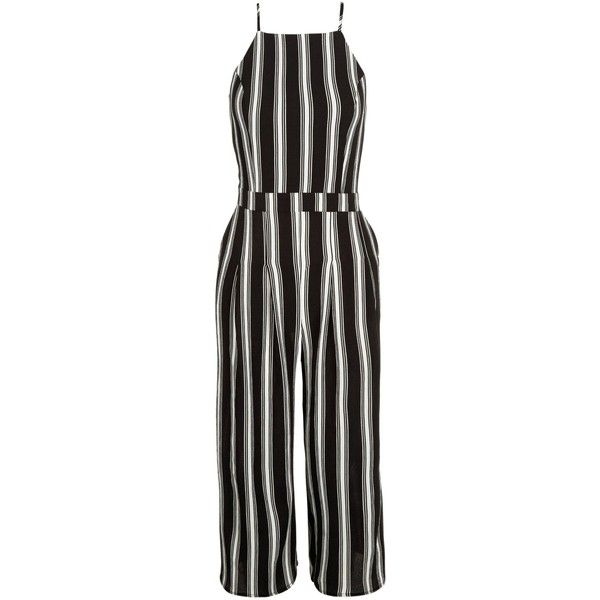 f116a57a627 New Look Monochrome Stripe High Neck Culotte Jumpsuit ( 30) ❤ liked on Polyvore  featuring jumpsuits