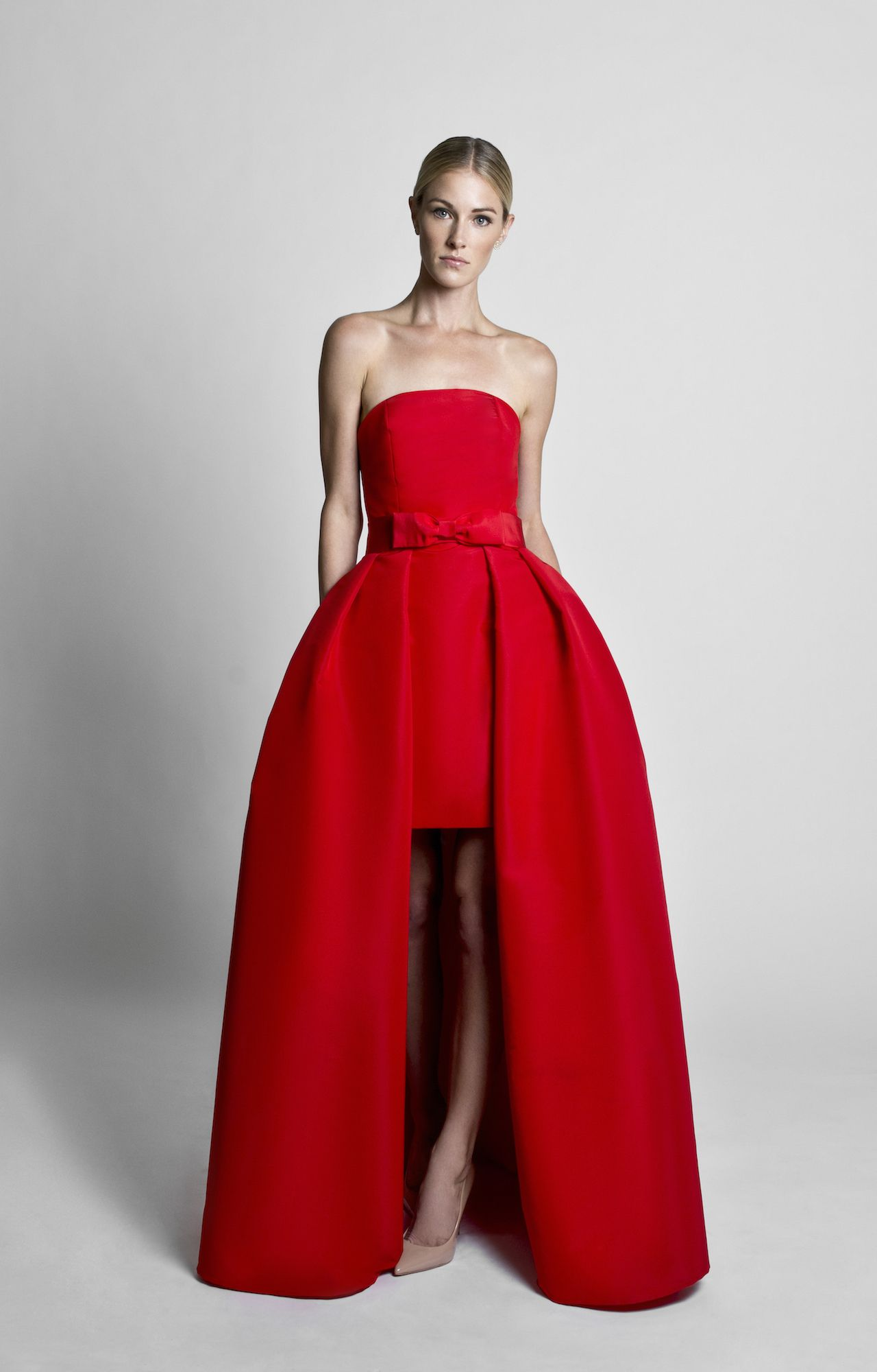66d7bd5bc109 Silk Faille Strapless Mini Dress with Bow Convertible Skirt | Red O ...