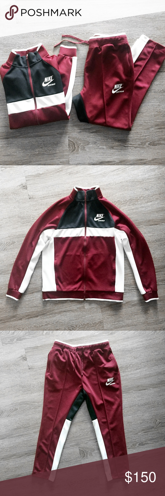 NIKE SPORTSWEAR dark red 2 piece track suit set L Nike