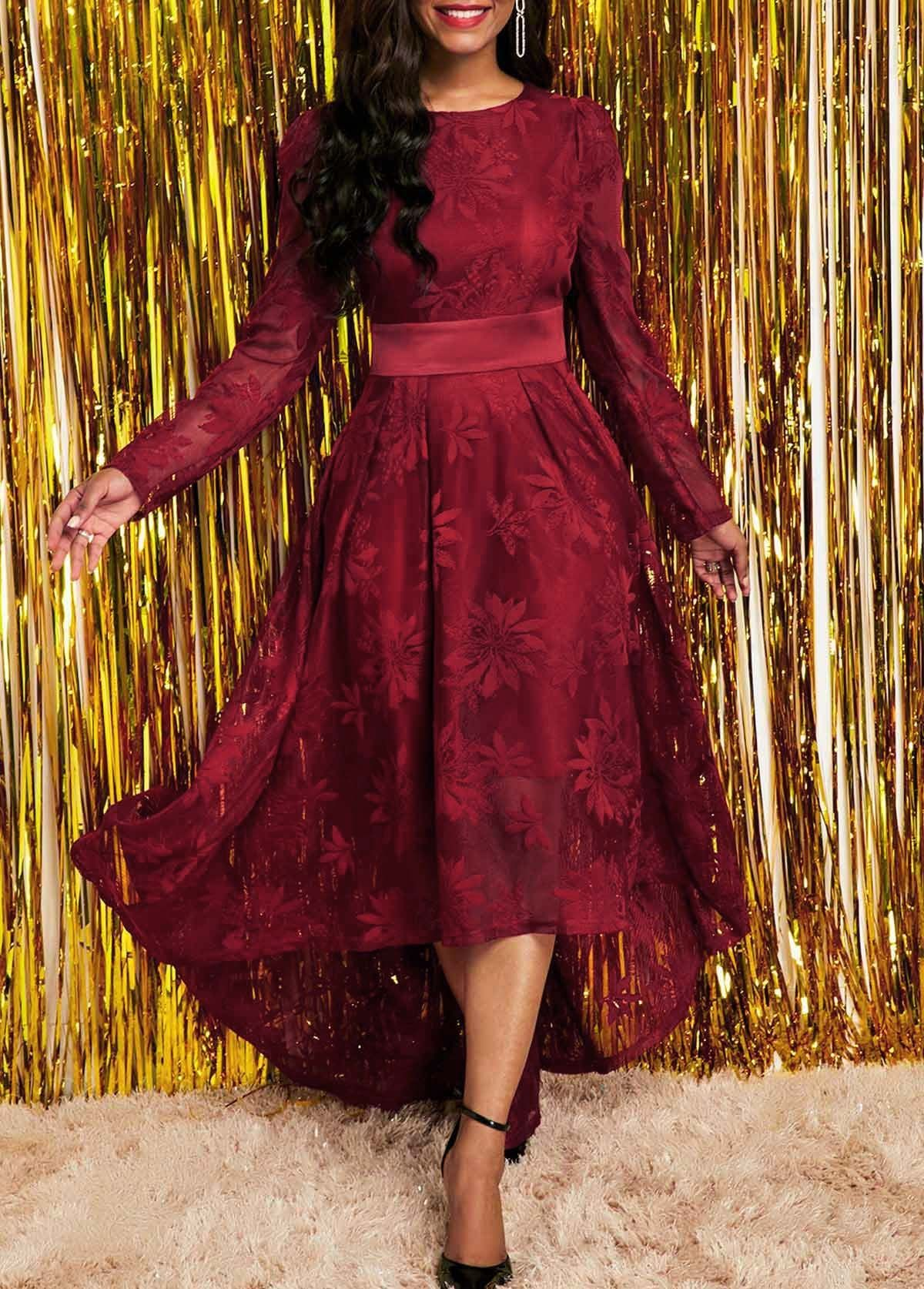 Rotita Com Usd 33 6 In 2021 Red Lace Long Sleeve Dress Long Sleeve High Low Dress Lace Dress [ 1674 x 1200 Pixel ]