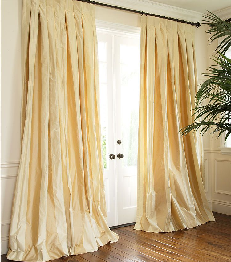 Shown Brandy Cream With Inverted Pleat Silk Curtains Drapes