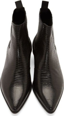 5f5635a3c511f Saint Laurent: Black Lizard Skin Winklepicker Boots | Clothes in ...